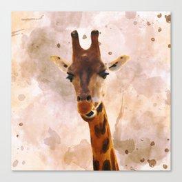 Watercolor Giraffe Canvas Print
