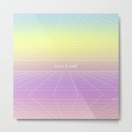 Love & Exist - 3D Dimensional Wireframe Plane of Existence Pastel Surreal Design Metal Print