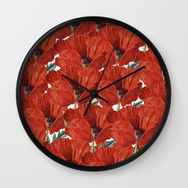 Vintage red orange poppy floral pattern Wall Clock