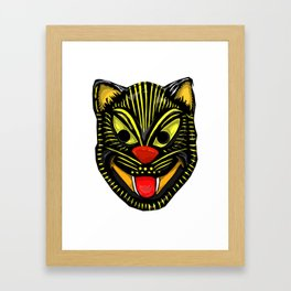 Retro Halloween Mask Cat Framed Art Print