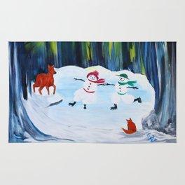 Christmas Night with dancing snowmen Rug