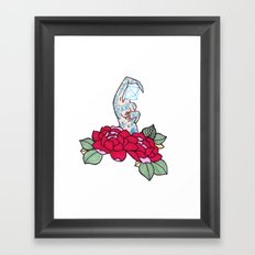 pin-up and roses Framed Art Print