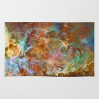 astronomy Area & Throw Rugs featuring Mystic Mountains - Carina Nebula Astronomy Image by Highton Ridley
