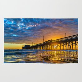 Low Angle Sunset at Newport Pier Rug