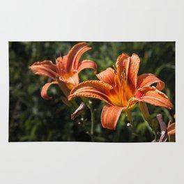 Orange Yellow Fire Lily Rug