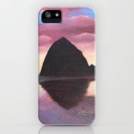 Pink Clouds at Haystack Rock iPhone Case