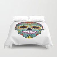 day of the dead Duvet Covers featuring Day of the Dead by Sarah Harris (Lily and Vine Ltd)