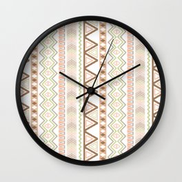 Aztec Andes Pattern Pink Brown Abstract Geometric Wall Clock