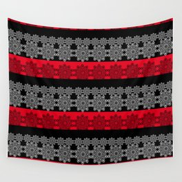 Black red fishnet lace pattern . Wall Tapestry