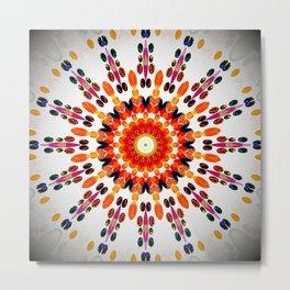 Orange Decorative Mandala Design Metal Print