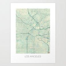 Los Angeles Map Blue Vintage Art Print