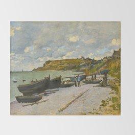 Claude Monet Impressionist Landscape Oil Painting Sainte-Adresse Throw Blanket