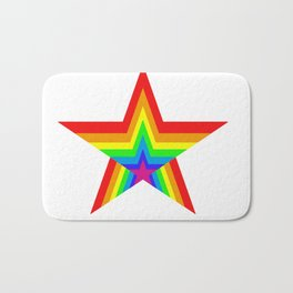 Bright Hypnotic Rainbow Pride Star Bath Mat