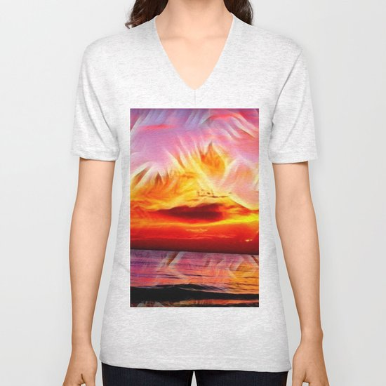 Sky on Fire (Sunset over Great Lake Michigan Beach) Unisex V-Neck