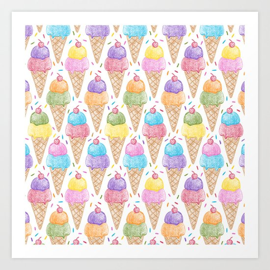 Crayon - IceCream Art Print