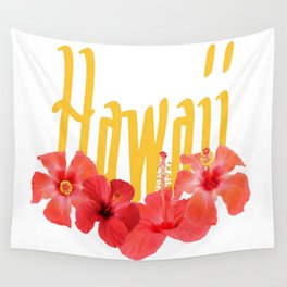 Hawaii Text With Aloha Hibiscus Garland Wall Tapestry