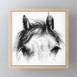 Horse animal head eyes ink drawing illustration. Mammal face portrait Framed Mini Art Print