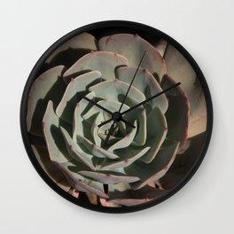 Succulent green pink rosettes Wall Clock