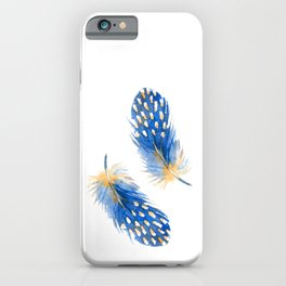 Blue Feathers of Helmeted guineafowl. Watercolor iPhone Case