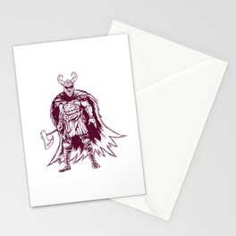 Vinking god Odin with ax and armor Stationery Cards