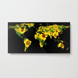 World Map Silhouette - Sunflowers Metal Print