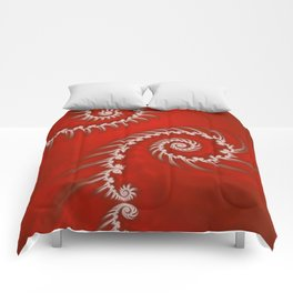 Red and White Striped Swirl - Fractal Art Comforters