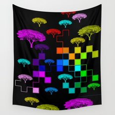 squared and trees again Wall Tapestry