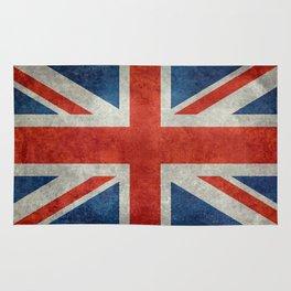 """UK Union Jack flag """"Bright"""" retro grungy style Rug"""