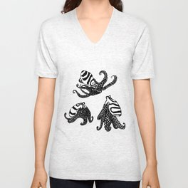 Three Large Pacific Striped Octopuses Unisex V-Neck