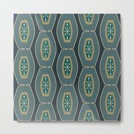 Midcentury Funky Chain Pattern Seaweed Metal Print