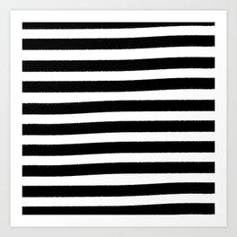 Brushy Stripes - Black Art Print