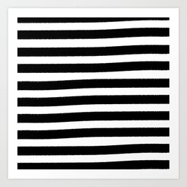 Brushy Stripes - Black Art Print