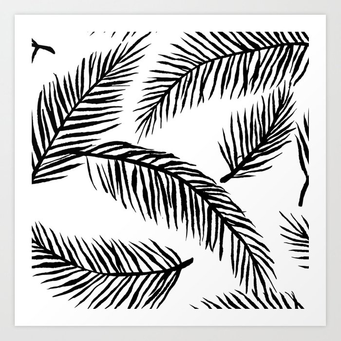 Black & White Palm Leaves Kunstdrucke