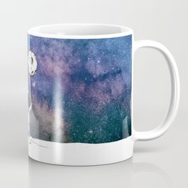 Cute Astronaut holding moon balloon with craters and stars cosmos background Coffee Mug