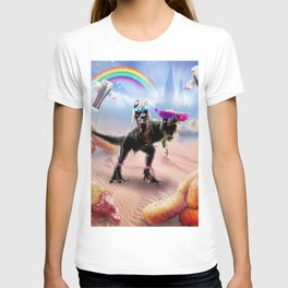 Pug Riding Dinosaur With Chicken Nuggets And Cola T-shirt