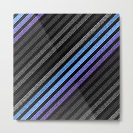 stripES Slate Gray Blue Periwinkle Pixels Metal Print