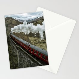 Red Wizard Steam Train In The Scottish Highlands – Landscape Photography Stationery Cards