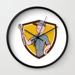 Handyman Holding Spanner Crest Cartoon  Wall Clock