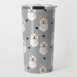 Akita dog pattern triangles cute dog portrait pet friendly dog breeds akitas Travel Mug