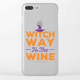 Witch Way to the Wine Halloween Design Clear iPhone Case