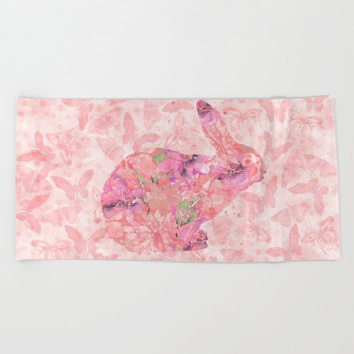 cute floral pattern watercolor Bunny art Beach Towel