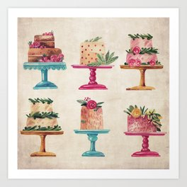 Watercolor Fancy Cakes in Pink and Aqua Art Print