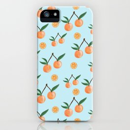 Fruity Oranges Pattern in Cool Blue iPhone Case