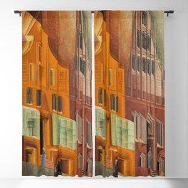 The City, Gables I, cityscape street scene painting by Lyonel Feininger Blackout Curtain