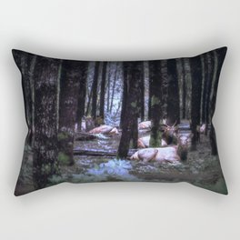 Faces in the Woods mod Rectangular Pillow