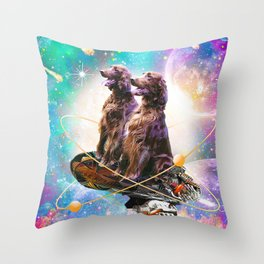 Space Galaxy Irish Setter Dog Throw Pillow