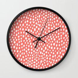 Handmade Polka Dot Paint Brush Pattern (White/Pantone Living Coral) Wall Clock