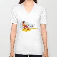dragonball V-neck T-shirts featuring DragonBall: Goku and Nimbus by Michelle Rakar
