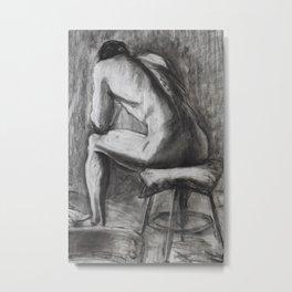Charcoal study of a man's back Metal Print