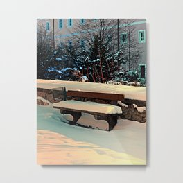 Snow covered bench Metal Print